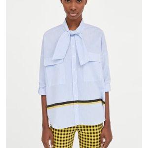 Zara blue white striped shirt with tie neck